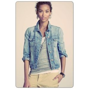 J. Crew Nolita Large Blue distressed Jean Jacket L